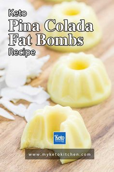 "Keto Pina Colada Fat Bombs - Low Carb ""Pineapple & Cream"" - EASY! These yummy keto snacks bring the taste of summer in every bite. They are gluten free, sugar free and healthy. #ketorecipes #ketosnacks #fatbombs #sugarfree #myketokitchen Ketogenic Desserts, Keto Snacks, Yummy Snacks, Ketogenic Diet, Easy No Bake Desserts, Dessert Recipes, Easter Desserts, Easter Recipes, Breakfast Recipes"