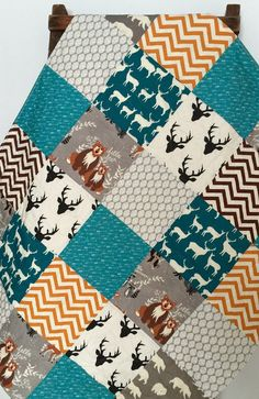 Baby Boy Quilt, Patchwork, Hello Bear, Fox, Raccoon, Owl, Deer, Stag, Leaf, Woodland, Deer, Gray, Arrows, Crib Bedding, Baby Bedding, Child