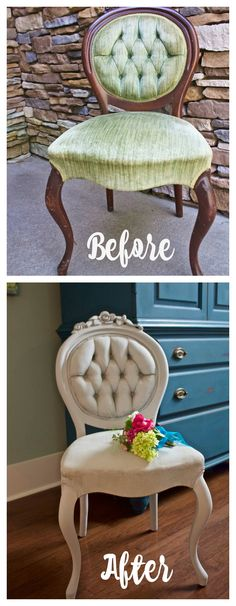 2 Bees in a Pod. Chalked Painted Side Chair - before and after