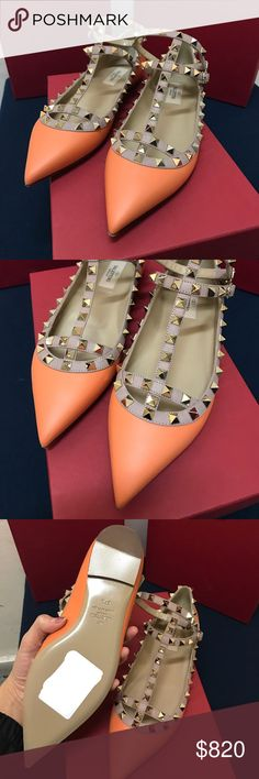 Valentino Rockstud Ballet Flat Clafskin #Orange Valentino Rockstud Ballet Flat Clafskin #Orange size 37.5 Valentino Shoes Platforms