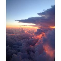 #clouds #sunset #sky #fly #view #horizon #pink #blue #fire by selmab