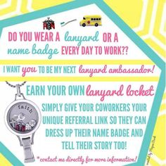 Contact me if you would like to be a lanyard ambassador! You could get a FREE Origami Owl lanyard locket from the brand new fall line! Ashleyalberts.origamiowl.com
