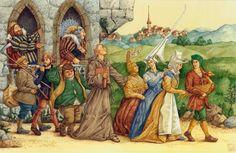Illustration zu Grimm's Märchen Die goldene Gans 2