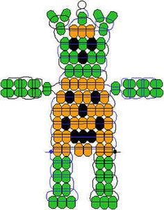 Tricky, the Bear    Materials:  2 ½  yards ribbon, cord or plastic lacing  1 key ring or lanyard hook  50 green  pony beads  33 orange pony beads  11 black pony beads  Special Instructions:  Begin with the first bead of the head and then the next row of 3 orange beads. Make the ears and continue with the pattern.