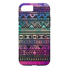 Colorful Cute Girly Nebula Space Aztec Pattern iPhone 7 Case -  Vibrant geometric decorative trendy aztec andes abstract tribal pattern design with multiple ombre bright colours pink, purple, blue, yellow, turquoise,... #custom #Aztec Themed #gift #casemate  case design by #hyakume - #casemate  #case #girly #aztec #pattern #cute #pretty #colorful #nebula #space #galaxy #tribal #geo #geometric #vibrant #trendy #hipster #ethnic #chevron #pyramid #black #abstract #decorative #unique #bright…