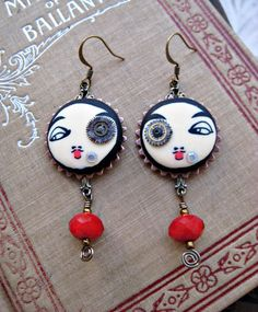 FRENCH clown Pierrot earrings hand made clay faces blood red beads