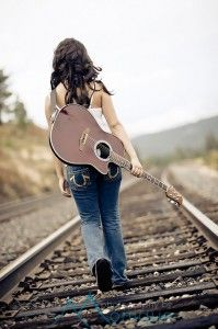 Railroad tracks and guitar... As soon as I tackle learning the guitar- I would love to have this pic!