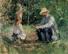 "Berthe Morisot: a new impression - Telegraph - ""Eugene Manet and his daughter in the garden."" 1883"
