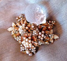 Miriam Haskell Brooch   beaded pearls with Lucite by JezebelsNOLA