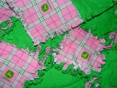 John Deere Pink and Green Plaid Flannel Rag Security by AuntBugs, $18.00