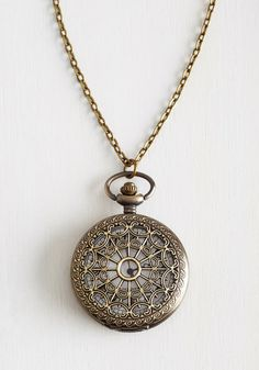 Turn Back Time Necklace in El Prado. There never seem to be enough minutes in the day to accomplish all that you'd like to, but if you could turn back the hands of time, you just may! #bronze #modcloth