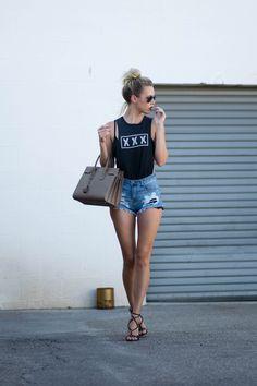 ripped jeans, XXX shirt and saint laurent bag valentino grommet sandals