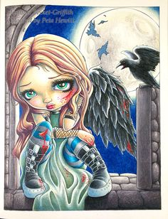 Peta Hewitt aka La Artistino coloring Battle Angel  by Jasmine Becket-Griffith…