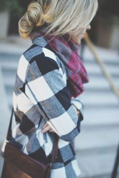 ...checker board blouse and contrast scarf