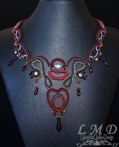 Handmade bead weaving heart necklace red black gold fancy by Lijuanbeadjewelry on Etsy Red Black, Black Gold, Handmade Beads, Handmade Gifts, Bead Weaving, Fancy, Trending Outfits, Heart, Unique Jewelry