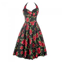 Black and Red Floral 50's Dress