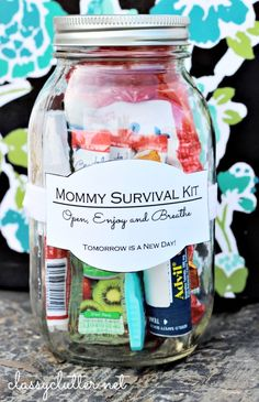 How do you feel about our mason jar series? Day 3 of the cute series of gifts in a jar is something I love and that I could use every single day of my life. Its  a mommy survival kit! This gift can be give to anyone, a new mom, soon to be mom, a friend, or just anyone that needs a pick my up. Most days my kids have different places to go, I have many loads of laundry,  dishes to do, my baby is teething and I am running on about 5 hours of sleep. In this jar it has a little bit of everything…