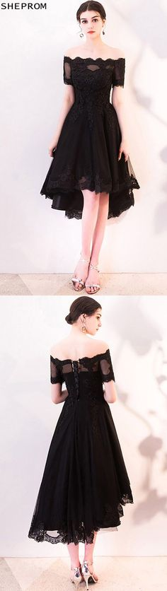 $79, Black Lace Off Shoulder Homecoming Dress High Low with Sleeves #MXL86060 at SheProm. #SheProm is an online store with thousands of dresses, range from Prom,Homecoming,Formal,Party,Black,Short Dresses,Off the Shoulder Dresses and so on. Not only selling formal dresses, more and more trendy dress styles will be updated daily to our store. With low price and high quality guaranteed, you will definitely like shopping from us. Shop now to get $5 off! Trendy Dresses, Nice Dresses, Short Dresses, Formal Dresses, Party Dresses, Homecoming Dresses High Low, Short Prom, Prom Dress, Black Laces
