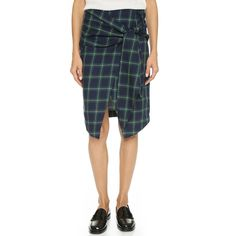 J.O.A. Front Tie Check Wrap Skirt (97 AUD) ❤ liked on Polyvore