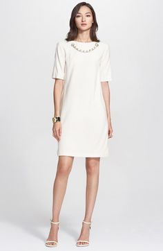 St. John Collection Embellished Neck Jersey Crinkle Knit Dress available at #Nordstrom