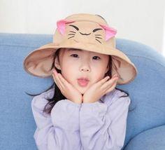 769011079cf Children Sun Cap Cute Cat Spring Summer Outdoor Baby Girl Beach Bucket Hat  Cartoon Design Fisherman