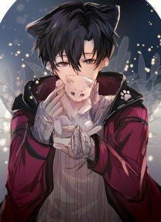 Hot Anime Boy, Anime Cat Boy, Dark Anime Guys, Cool Anime Guys, Handsome Anime Guys, Female Anime, Boy Anime Eyes, Wolf Boy Anime, Anime Neko