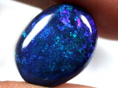 F/S CAB CLEAN BLUE GREEN  STONE BLACK OPAL  C3.95  QO1486  BLACK OPAL  FROM LIGHTNING RIDGE NEW SOUTH WALES AUSTRALIA FROM OPALAUCTIONS.COM