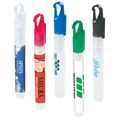 A #fun #clip-on hand #sanitizer spray.  Easy to use and brightly colored - #personalize yours for #marketing.  Great for #healthcare workers or #hospitals.  Pricing starts at $1.08/each with gradual discount for higher quantities.  Contact bizeebodypromos.com for more information.