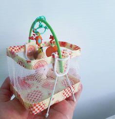 regalo de nacimiento miniatura 1:12 rosa Baby bolso bolso// muñecas Tube #20#