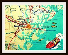 Savannah Vintage Map  Etsy listing at https://www.etsy.com/listing/180396060/savannah-georgia-map-print-hilton-head