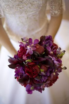 Flowers, Red, Purple, Orchids, Peonies, Calla lilies, The blue orchid, Bridal bouquet, Blue orchid