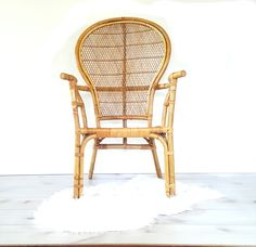 Bamboo Arm Chair ~ Vintage Bentwood Bamboo/ Rattan High Back/ Fan Back  Accent Chair