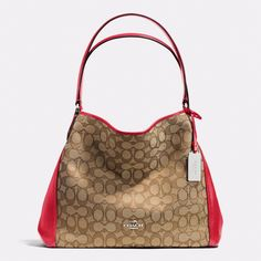 NWT 36466 COACH EDIE SHOULDER BAG 31 SIGNATURE JACQUARD LEATHER RED KHAKI in Clothing, Shoes & Accessories, Women's Handbags & Bags, Handbags & Purses | eBay