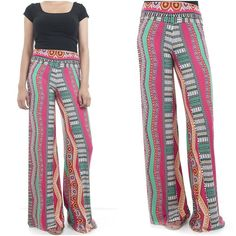 ebclo - Comfy & Chic Multi-Colored Ethnic Print Wide Leg Pants Long Trousers NEW #ebclo #CasualPants $20.00 Free Domestic Shipping