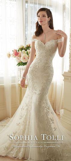 Sophia Tolli Off Shoulder Lace Mermaid Wedding Dress for Spring 2016