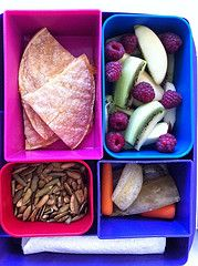 BBQ Chicken Quesadilla, Kenyas Pickles, Toasted Pumpkin Seeds, kiwis & raspberries