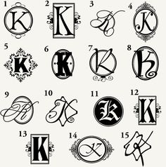 Letter K Monogram Letter P Tattoo, Tatto Letters, Monogram Tattoo, Monogram Wall Decals, Monogram Letters, Hand Drawn Fonts, Hand Lettering Fonts, Graffiti Lettering, Schrift Tattoos