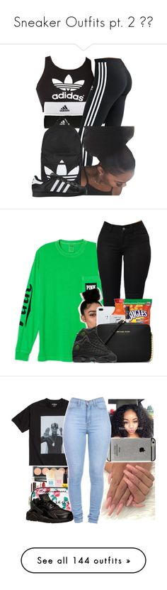 """""""Sneaker Outfits pt. 2 😍👟"""" by kamaridenise ❤ liked on Polyvore featuring adidas, Topshop, adidas Originals, Victoria's Secret, Happy Plugs, NARS Cosmetics, Michael Kors, NIKE, Pieces and Marissa Webb"""
