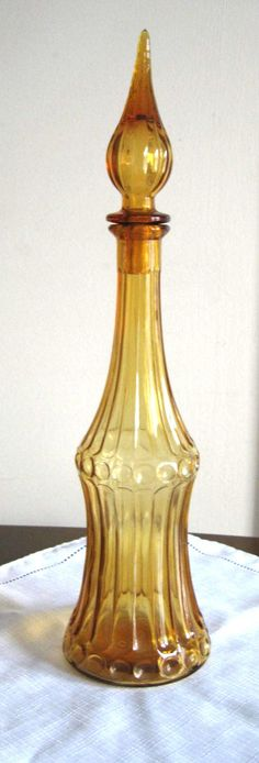 Mid Century 1960s TALL Amber Glass Genie Bottle Decanter on Etsy, $55.00