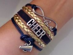 Cheer bracelet, Cheerleader gifts, Team gifts, Team sports, infinity love bracelet, megaphone charm Navy and gold color, friendship gift