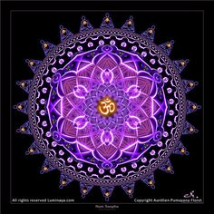This beautiful Mandala represents the Sacred Sound of the Universe AUM. This frequency is the origin of all Creation. All the people around this mandala are silent chanting his sound (mantra) and are all connected together with the ONE, it's all Unity, we are ONE with everything. This mandala also embeds the energy of the Amethyst, symbol of the connection of our consciousness with the Divine plan.