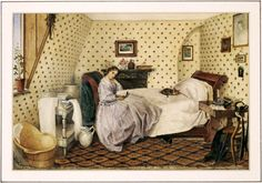 Young woman in an attic bedroom, reading. Watercolour on paper depicting a young woman reading in an attic bedroom, signed by Alice Squire and dated Victorian Bedroom, Victorian Life, Victorian Interiors, Victorian Decor, Victorian Women, Victorian London, Victorian Furniture, Victorian Paintings, Victorian Artwork