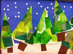 winter trees tissue paper Make the paper first by gluing on different patches of green paper, then cut out the tree shapes. Glue on a sky and earth background.