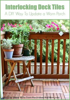 Interlocking deck tiles are a way to refresh your porch floor. They can be placed right on top of your existing floor. See on Front-Porch-Ideas-and-More.com