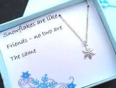 Snowflake Friendship  Necklace Gift Boxed  by JewelryJust4You, $28.00