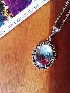 A Thousand Pieces of You Book Cover Necklace- Book Cover Cameo Necklace feat. Claudia Gray's Newest Novel- Watercolour Pendant Necklace