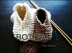 Como Tejer Boticas y Gorro 1a.Parte-Baby Booties and Hat, Newborn 2 Agujas (185) - YouTube
