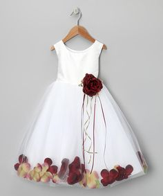 Love this White & Burgundy Petal Silk Dress - Toddler & Girls on Great flower girl dress. Little Girl Dresses, Girls Dresses, Flower Girl Dresses, Little Girl Fashion, Kids Fashion, Toddler Girl Dresses, Toddler Girls, Infant Toddler, Robes Tutu