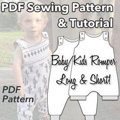 PDF Baby/Kids Sewing Pattern - Romper Sewing Pattern - Months to 3 – Baboosh Designs Baby Sewing Tutorials, Sewing Patterns For Kids, Sewing For Kids, Baby Patterns, Clothing Patterns, Sewing Projects, Baby Romper Pattern, Sewing Headbands, Rompers For Kids
