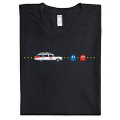 """'Called for Help' t-shirt. """"Who ya gonna call? Ghostbusters!"""" Ghostbuster's Ecto-1 chases Pacman's Blinky and Inky. Lol."""